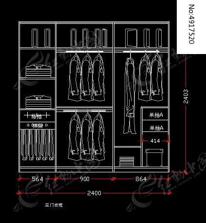 2.4米宽衣柜内部结构施工设计图纸