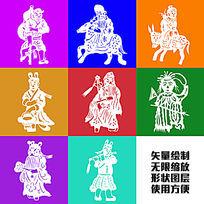 八仙过海剪纸传统图案矢量形状绘制卡通花纹