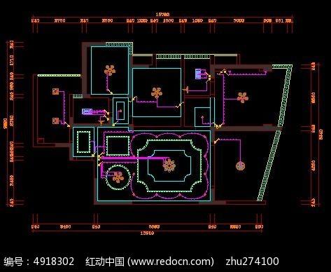 步骤两室灯具顶面户型开关v步骤设计图_CAD图cad标准镜像图片