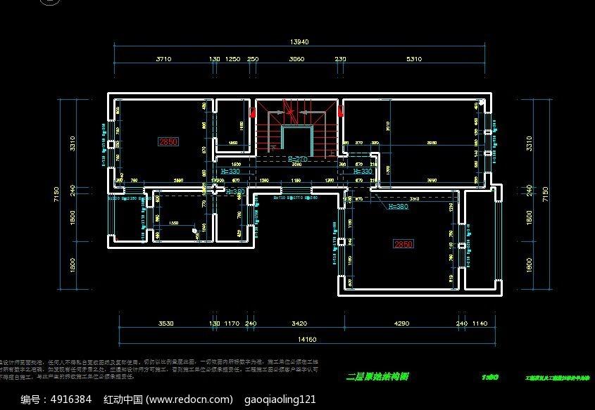 别墅 二层 原始结构图 CAD图纸图片素材
