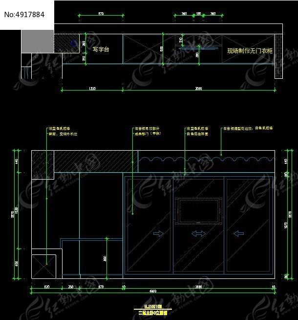 别墅二图纸图纸卧室设计图_CAD楼主图片素材框a2和外内框衣柜距离图片