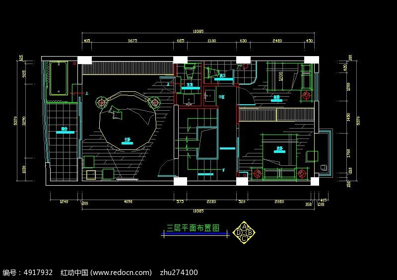 别墅三层平面布置图