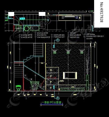 别墅一层客厅c立面图