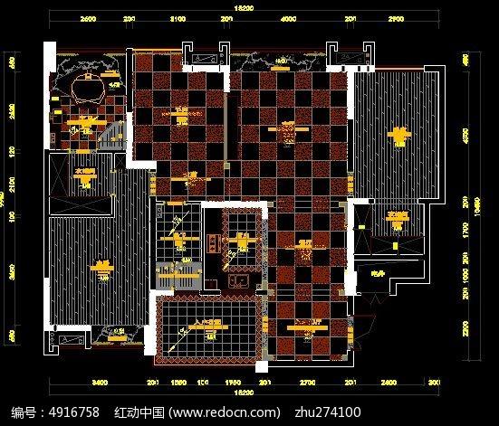 地面瓷砖布置设计图纸CAD素材下载 室内装修设计图片