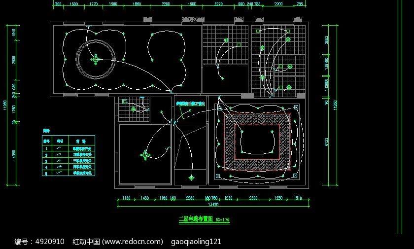图纸车库布置图_CAD电路图片素材图纸标示线二楼图片