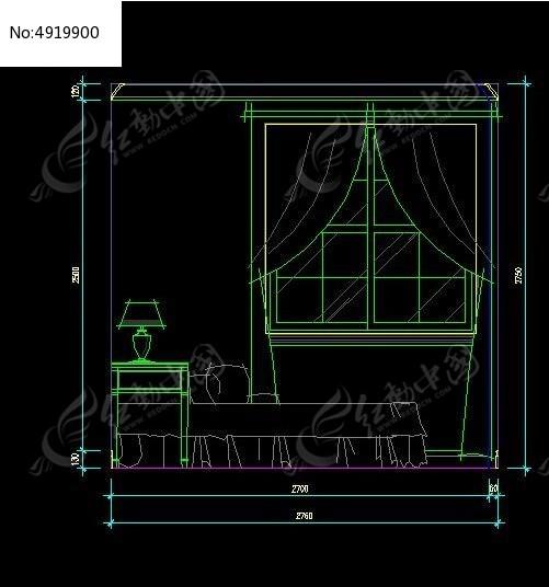 法式田园风格卧室装修立面图