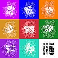 福字动物吉祥传统剪纸图形矢量绘制图案