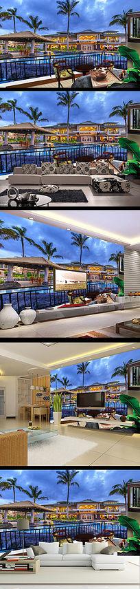 高清海景房画中画阳台3D电视背景墙