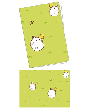韩国可爱插画草地翻滚兔子笔记本封面 PSD