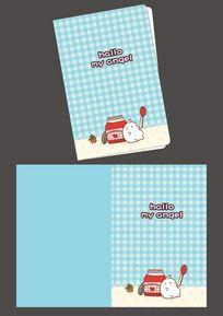 韩国可爱插画草莓酱兔子记事本封面 PSD