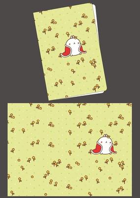 韩国可爱插画田园兔子记事本本子封面 PSD
