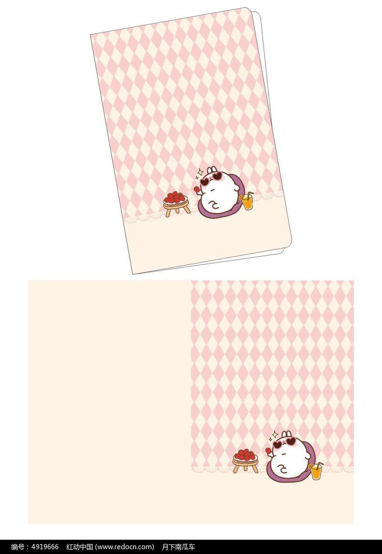 韩国可爱插画悠闲兔子笔记本封面