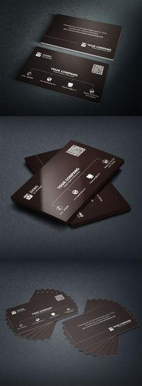 黑色简约大气二维码名片设计