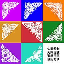 蝴蝶剪纸传统图案形状绘制图形