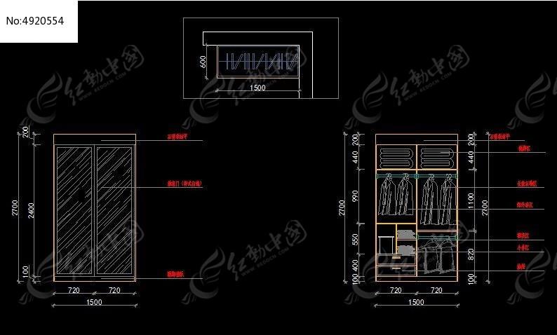 简单装修衣柜立面施工图_CAD图纸图片素材和v衣柜横图纸版如何竖版国标图片