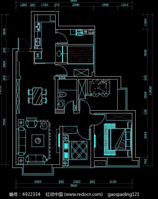 简欧两室户型平面布置图