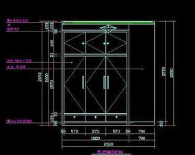 客房现代风格衣柜外立面尺寸图