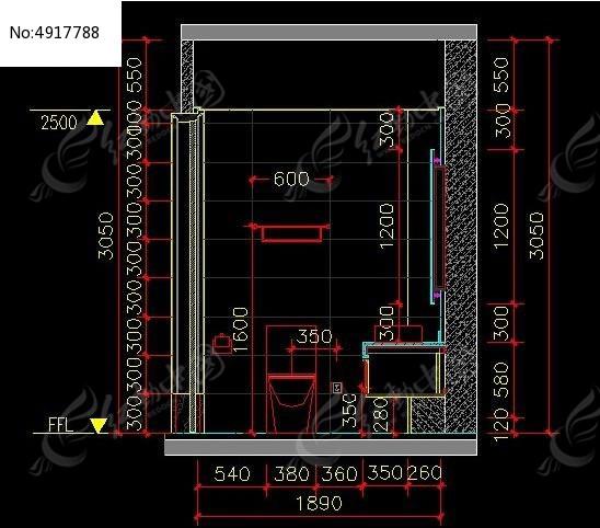 客卫生间墙面铺装示意图cad素材下载_室内装修设计图片