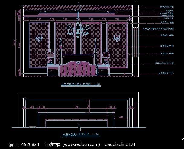 欧式别墅三层主卧室床头造型立面图