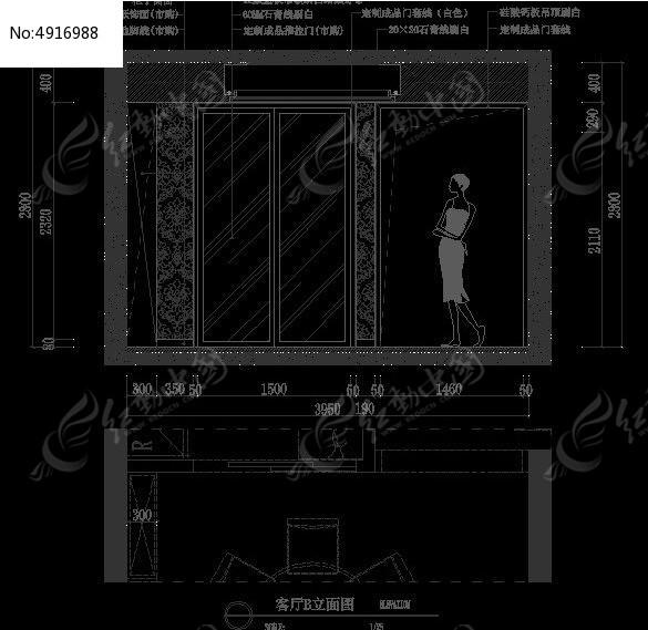 欧式客厅装修移门设计图纸