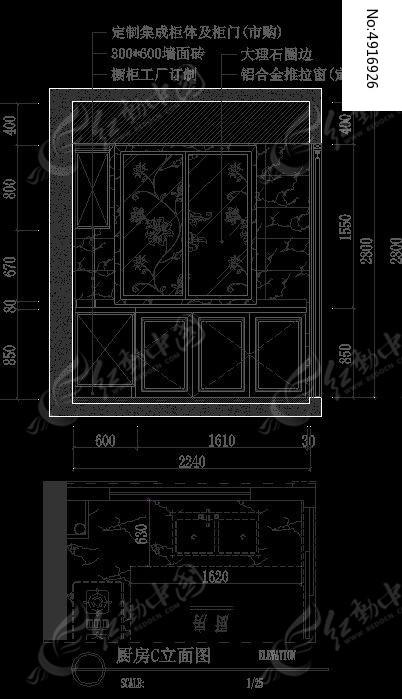 欧式装修厨房C立面设计图纸CAD素材下载 编号4916926 红动网