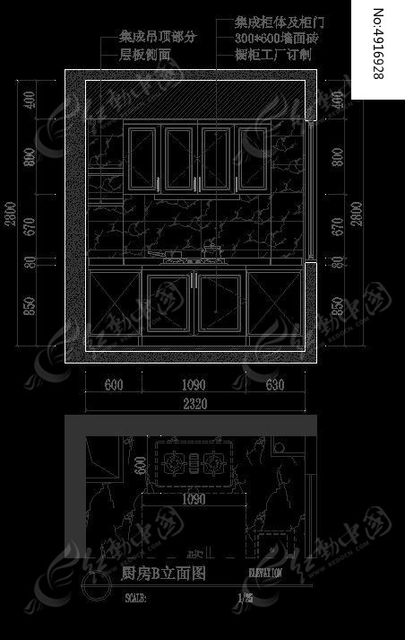 欧式装修风格厨房橱柜b立面设计图纸