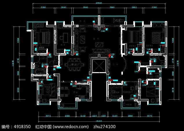 平层大全开关位置图_CAD尺寸图片素材cad别墅图纸图片