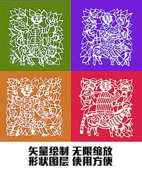 矢量形状绘制传统吉祥花纹福娃图案