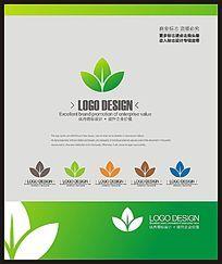 时尚绿色花店花艺标志设计