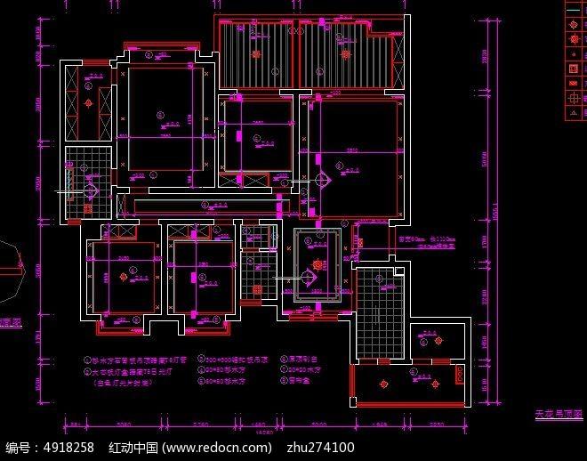 天花吊顶造型尺寸设计图纸CAD素材下载 编号4918258 红动网