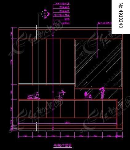 现代风格别墅书房装饰柜c立面图