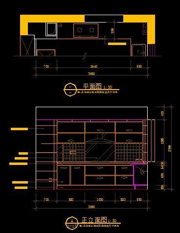 现代图纸图纸打开正立面图_CAD厨房图片素材win10装修拖风格着图片