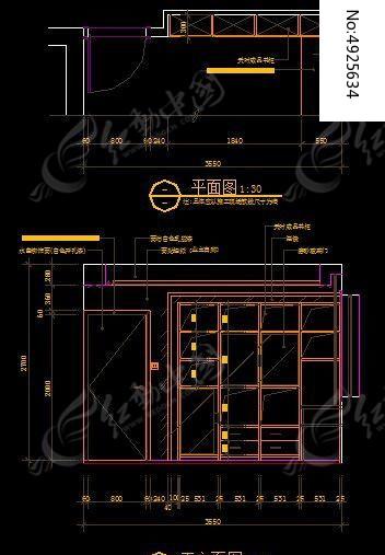 卧室墙面柜子 内部结构图CAD 素材下