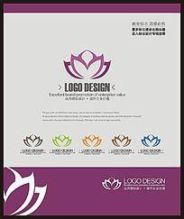 现代美容健身中心荷花标志设计 CDR