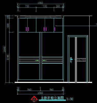 现代装修主卧室衣柜外立面图