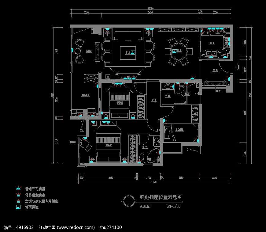 小户型装修强电插座布置图纸CAD素材下载 编号4916902 红动网