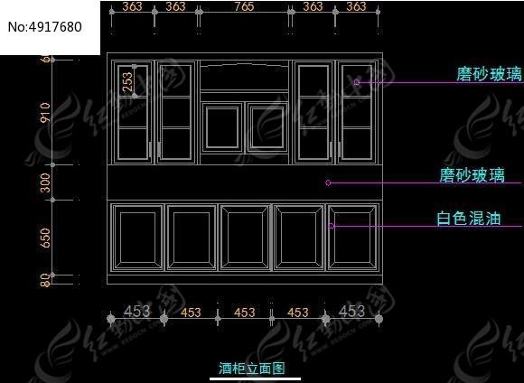 cad酒柜立面图下载_酒柜CAD图纸设计附带施工材质说明模板下载