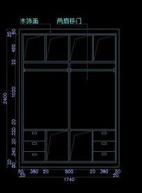 新古典装修风格两扇移门内部结构图
