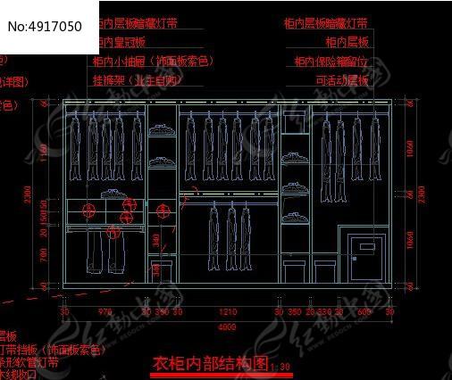 衣柜内部结构设计图纸cad素材下载