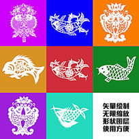 鱼年年有余吉祥传统剪纸图案矢量绘制图形