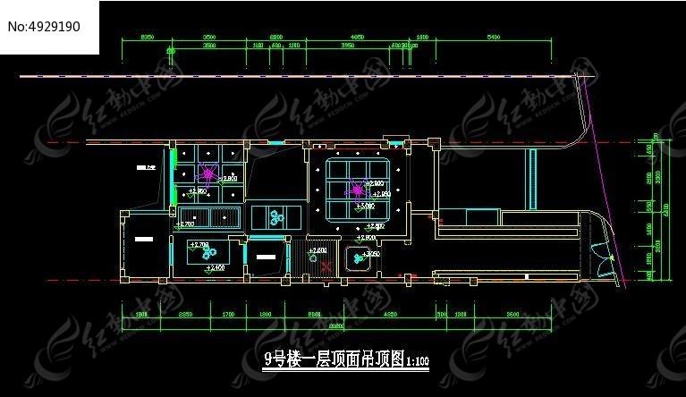 号楼一层 顶面吊顶图 CAD 图纸图片素材