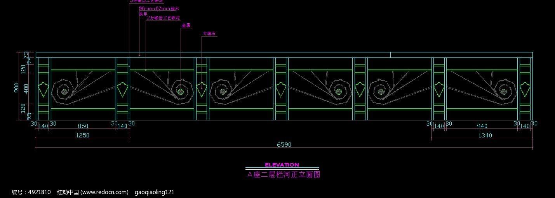 A座技术栏河立面图_CAD图纸图片素材v技术二层图纸记录图片
