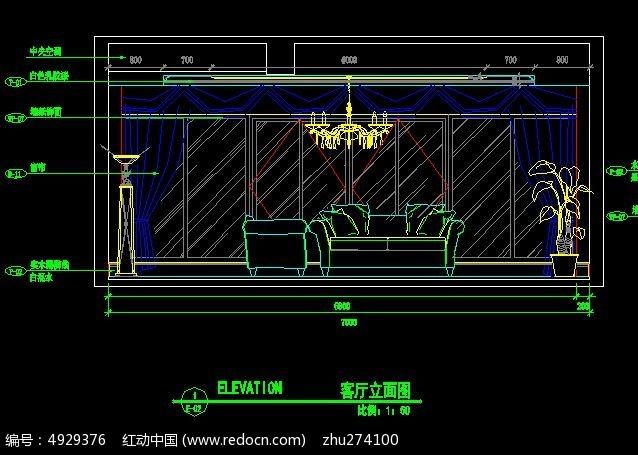 北欧别墅客厅沙发背景立面图图片