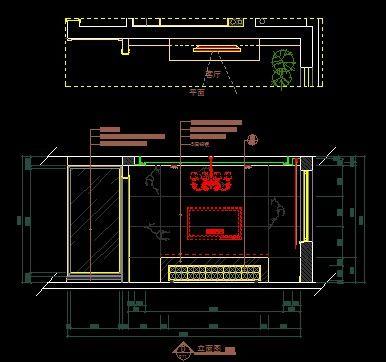 现代极简三室图纸电视墙立面图_CAD集团客厅上海设计院图片中铁的有限公司图纸图片