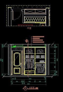 现代三室次卧室衣柜立面图