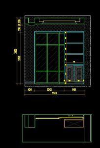 样板房装修厨房推拉门及装饰柜立面图