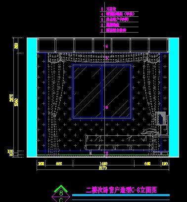 中式别墅二楼次卧室窗户造型立面图