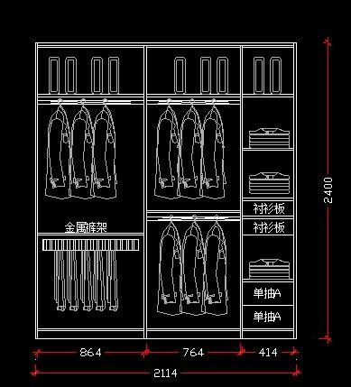 2.1米宽衣柜立面设计图CAD素材下载_图纸CAcad导出家装如何pdf图片