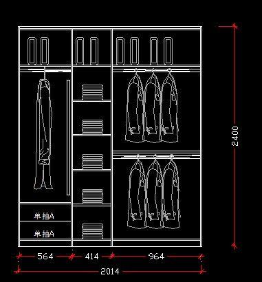 2米宽衣柜内部结构图 施工设计图