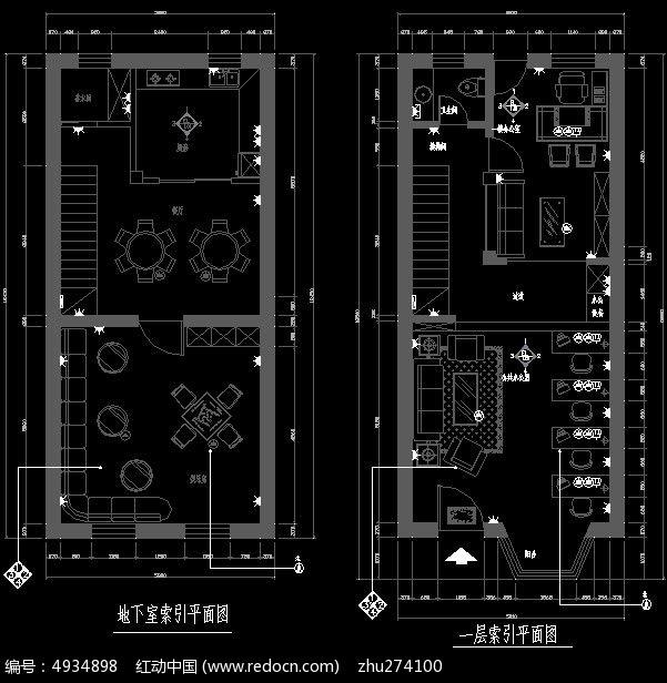 办公楼地下室及一层索引平面图